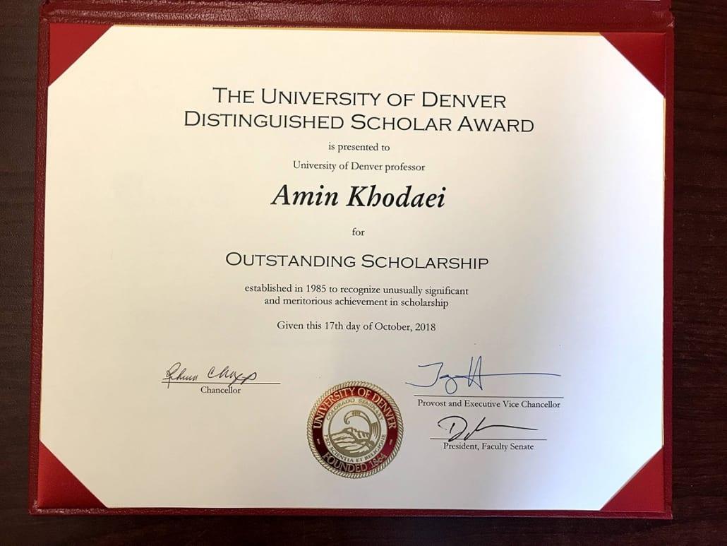 2018 10 DU Scholar of the Year Award